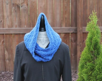 Hooded Scarf - Crochet -  Women or Teen - Blue with Blue Sparkle