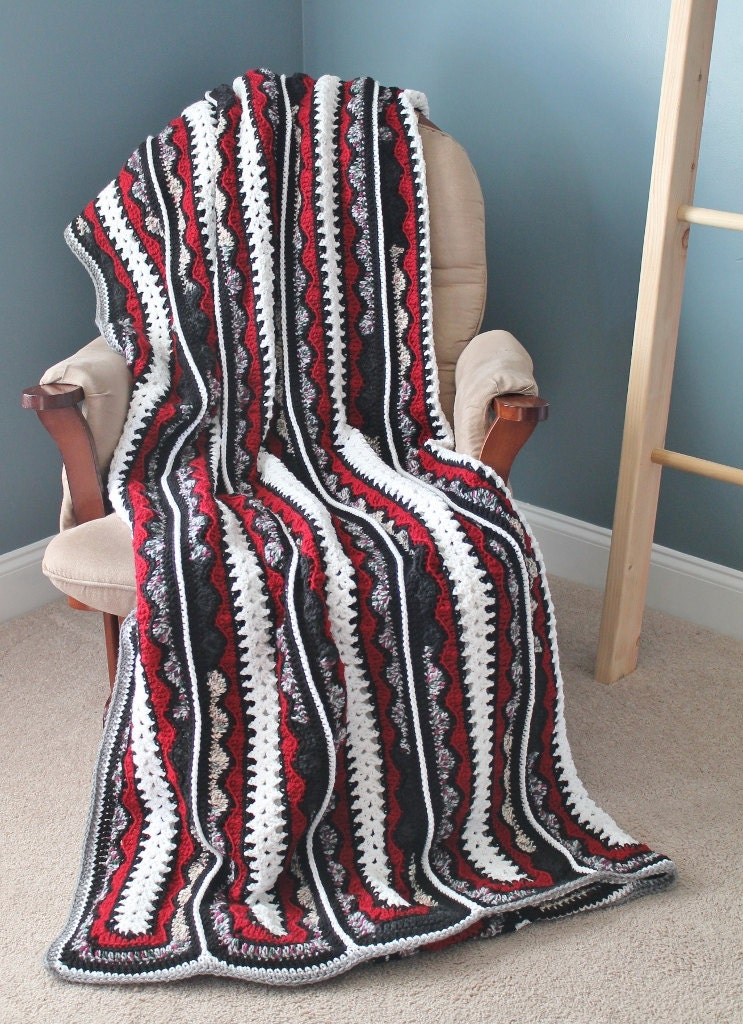 Crochet Queen Size Blanket : Afghan Handmade Crochet Queen Size Blanket by SnuggableStitches