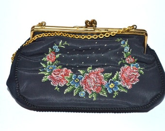 50s  vintage little silk black coin cosmetic purse with the chain front hand made needle work cross stitch floral decorations Christmas gift
