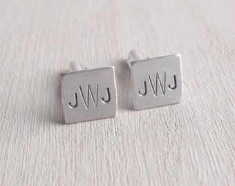 Monogram Mini Square Cufflinks / Silver Stainless Steel Aluminum Cuff Links with  Personalized Initials