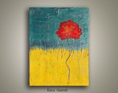 Teal and Yellow Abstact Painting - Red Flower Painting on Canvas - Red and Yellow Abstract - - 18x24 Abstract Acrylic Original Painting