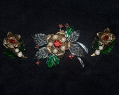 Vintage Avon 1992 Rich Christmas, Jewerly, Pin, Brooch & Earring Set