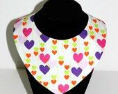 Hearts and Love Letters Valentine Reversible Dog / Pet Bandanas, Valentine Bandana
