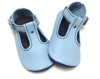 Handmade soft soled leather baby shoes.  T-bar sandals.  Baby boy summer soft soled shoes.
