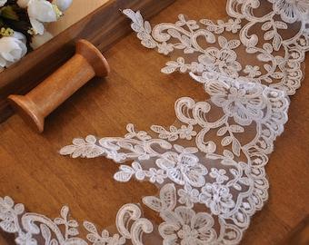 scallop alencon lace trim in off white for veil ,bridal gown, costume