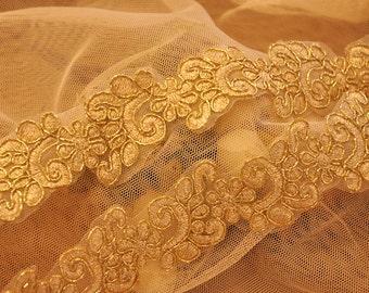 bridal lace trim, gold alencon trim lace, scallop lace,2 yards