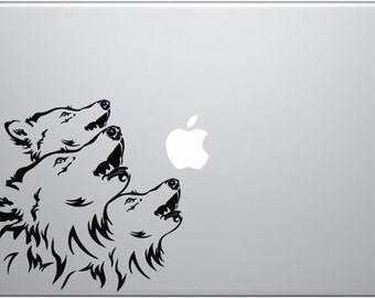 Three Wolves Howling Decal for Macbooks, iPads, Laptops and Vehicles