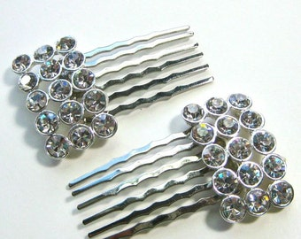Rhinestone Hair Combs, Bridal hair combs, wedding accessory, pair of rhinestone hair combs