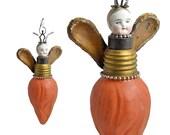 mixed media assemblage, original art doll ornament, altered doll, FIREFLY 9 by Elizabeth Rosen