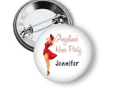 5 or 10 Bachelorette party or hen's party pinback button badges - Red Dress