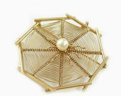 14K Gold Yellow Spider on Web Pin, Brooch, Pendant - Spider Web Pendant - Fine Jewelry - Gift for Her