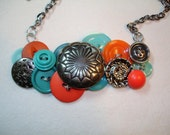 Vintage Button Necklace - Button Jewelry- SOUTHWEST STYLE -Turquoise buttons- Silver Metal Buttons - Orange Buttons - Blue and orange -