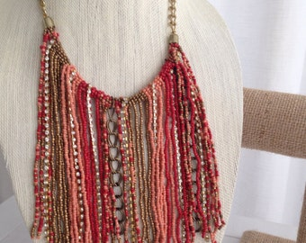 Coral Bib Necklace Statement Seed Bead Necklace