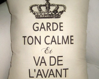Keep Calm and Carry On French Pillow, Shabby Chic Paris Inspired Cushion, Crown, Neutral Home Decor, Ivory, Typography, Words