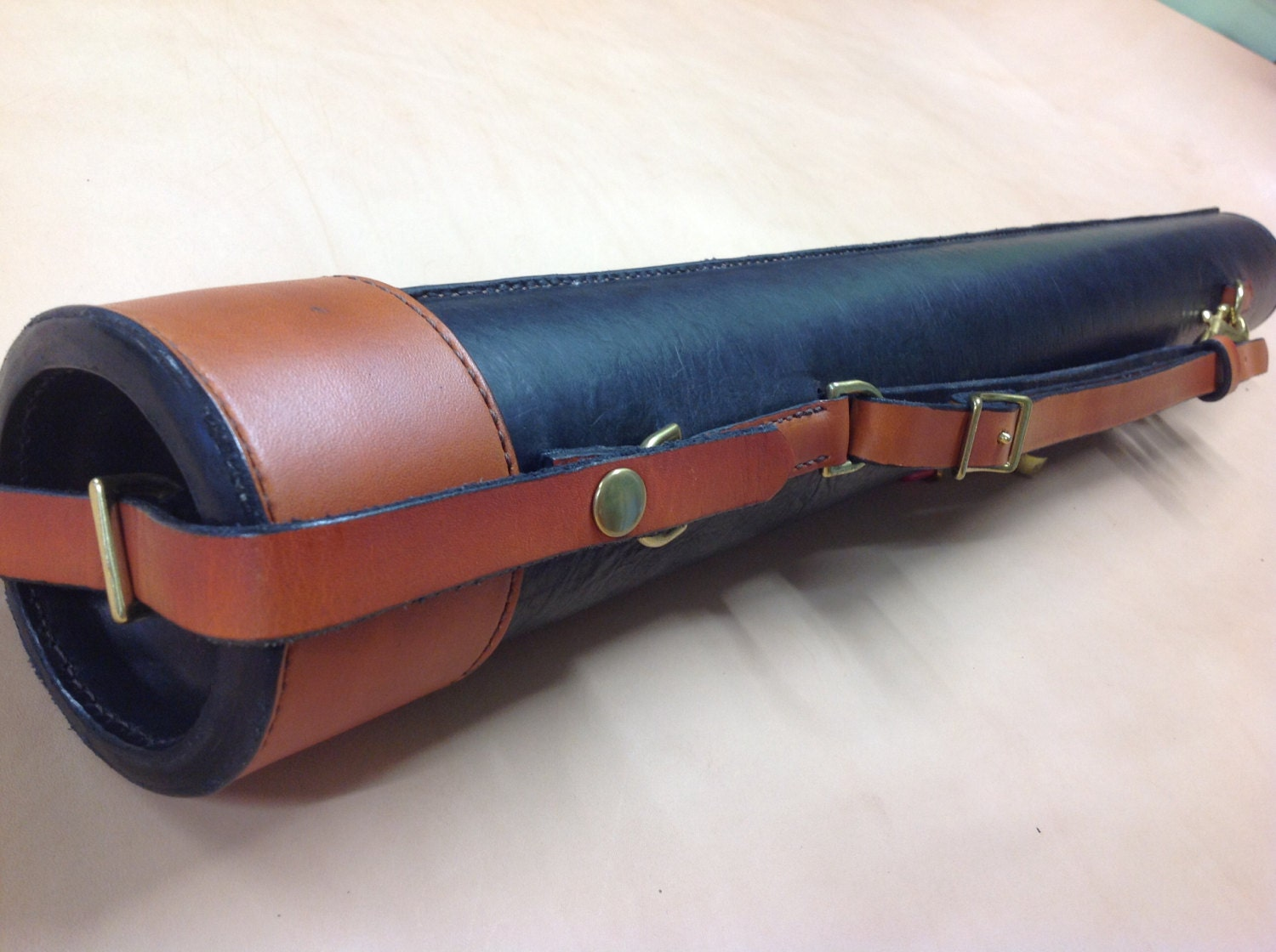 Fly rod case hand stitched leather ready by for Fishing rod case