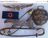 ON SALE Vintage Steampunk Lot Watch Fob Stewardess Wing Large Safety Pin Coca Cola Opener