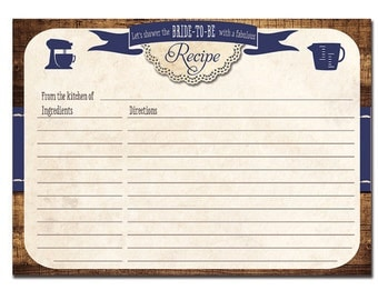 Navy Blue RECIPE CARDS Rustic Shabby Chic Vintage Wood Woodgrain Faux Bois Farmhouse Bridal Shower Country Fill-In Cards 4x6 or 5x7 - Tracey