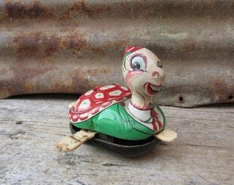 Vintage Tin Metal Toy Turtle Made in Japan Mikuni Spinning Turtle on Wheels 1950s 1960s Era vtg Toy Retro Cute Vintage Toy
