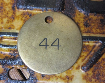 Vintage Number Tag Jewelry Charm Brass Number 44 Tag #44 Tag Number Industrial Garage Old VTG Tag Farm Industrial Tag Lucky Number Fob Tag