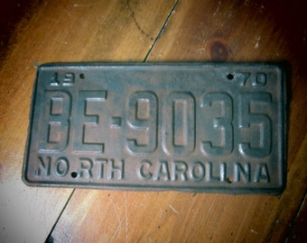 Vintage License Plate North Carolina Aged Heavily Distressed Great Patina Rusted 1970 Hot Rod Man Cave Garage Metal License Plate Rat Rod