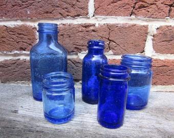 I Blue Bottles Collection 5 Antique Cobalt Blue Bottles Old Bottles Lot For Wedding Table Vases or Rustic Farm Country Display Old Fashion