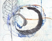 Enso II - November 2014, abstract painting on paper, 5 x 5, small art work