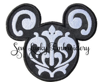 Mouse Head Appliqued Embroidered Patch, Iron or Sew on