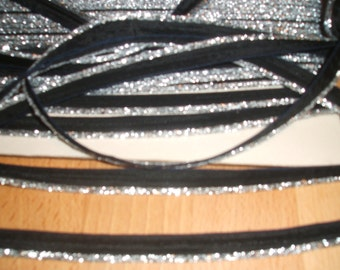 Black with Silver Insertion Tape x one yard