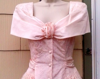 Vintage 1980s Pink Lace Mini Dress Formal Prom Gown Small