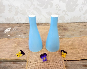 Salt and Pepper Shakers, mid century modern, Sky Blue Ceramic, tall set by Johnson Bros, England, pattern JB587, fswp