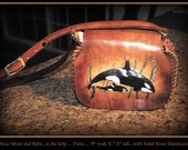 "Leather Purse handmade with Orca whale and baby with seaweed, about 9"" X 7.5"" with Kangaroo lacing and inside leather pockets, long strap."