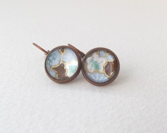 Copper Leverback Earrings - Japanese Blossom - Glass cabochon earrings - Blue, Brown and Aqua
