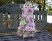 Monogrammed Girls Vintage Look Apron with Monogram Embroidery Personalization Pink Floral Ruffles