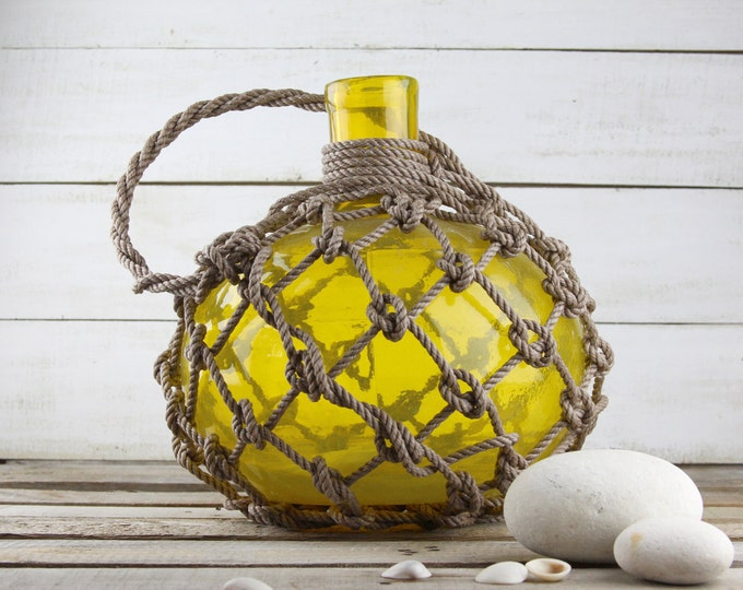 Beach Decor Big Yellow Glass Pirates Rum Jug in Rope Netting by SEASTYLE