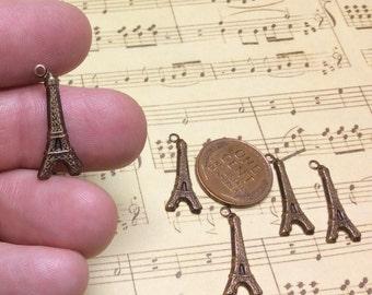 Free US shipping Eiffel tower charm drop brass brown vintaj stamping 21.5x9mm elegant 5 in lot