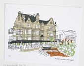 "Yorkshire treats, Harrogate - Original art illustrative print, (10"" x 12"") 'as scene by me' range"