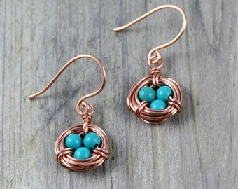 Copper and turquoise earrings gifts Free US Shipping handmade Anni Designs