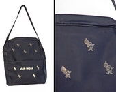 Air INDIA Bag 70s Carry On Luggage Tote Metallic Gold Genies Navy