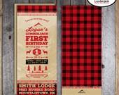 Lumberjack Invitation - Lumberjack Birthday Invitation - Wrap Around Address Label - Printable -Camping Buffalo Plaid Rustic Lodge Mountains
