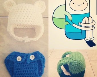 Crochet Adventure Time Finn the Human outfit (included in a beanie/hat, a diaper cover and a backpack)