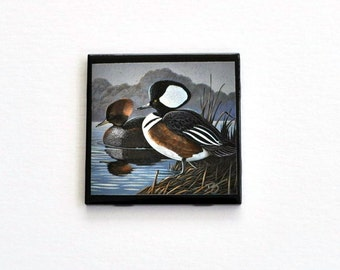 4 x 4 Wildlife Art  Black Ceramic Tile Drinking Coaster Ducks Handmade Single item