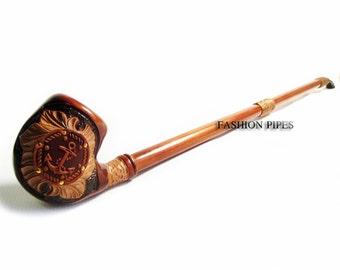 "New Tobacco Pipe EXTRALONG ""ANCHOR"" in Leather, Pipe of Pear Wood Pipe 25'' Churchwarden Wooden Pipe. Exclusive Designed for pipe smokers"