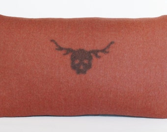 Decorative Pillow - Felted Skull with Antlers