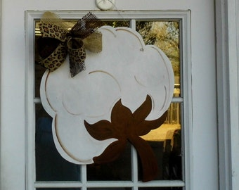 Cotton Boll Door Hanger, Summer Door Decor, Wood Door Hanger, Southern Decor