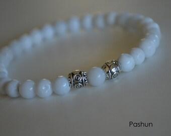 Yoga Stretch Bracelets ... White Snow Quartz (1386)