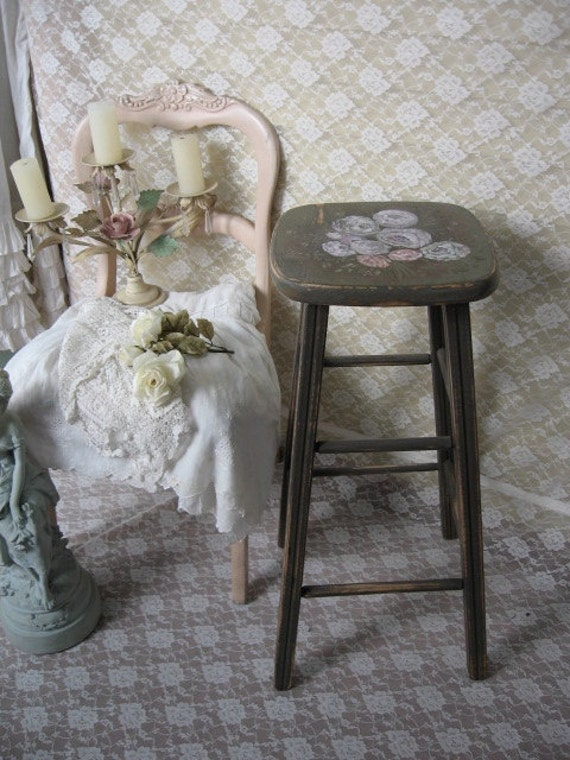 shabby chic painted stool chippy distressed vintage by. Black Bedroom Furniture Sets. Home Design Ideas