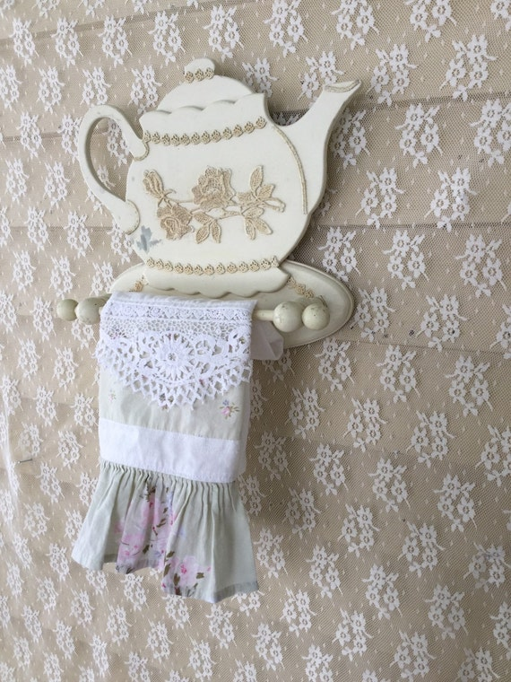 Shabby chic teapot shaped towel holder tea towel by for Shabby chic towel stand