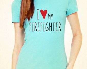 I Love (Heart) my Firefighter design2 tee shirt - Soft Cotton T Shirts for Women, Men/Unisex, Kids