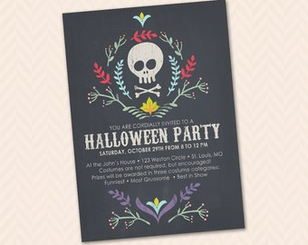 Chalkboard Skull Halloween Party Invitation - DIY Printable - Trick or Treat!