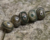 Oval green agate dzi beads 3 for 1.75  DZL326